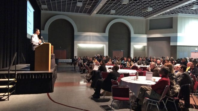 St. Cloud Police Chief Blair Anderson addresses a crowd at the 2015 Greater St. Cloud Community Priorities Forum at the River's Edge Convention Center.