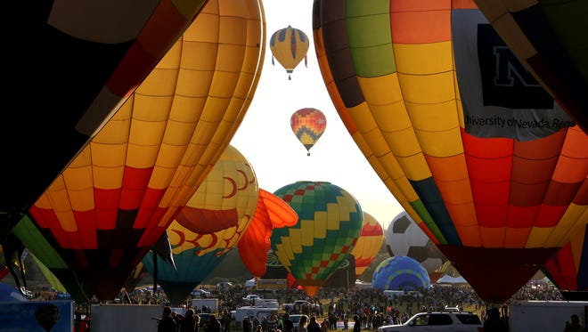 Balloons take flight during The Great Reno Balloon Race in Rancho San Rafael Regional Park in Reno on Sept. 8, 2017. Jason Bean/Reno Gazette-Journal- USA TODAY NETWORK