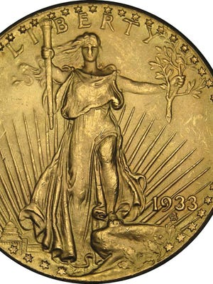 This undated photo provided by the U.S. Mint shows a 1933 $20 coin.