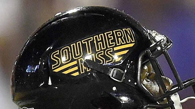 Mike Thomas fields a kick for Southern Miss Saturday night, September 5, 2015, at M.M. Roberts Stadium on the University of Southern Mississippi campus in Hattiesburg, Miss.