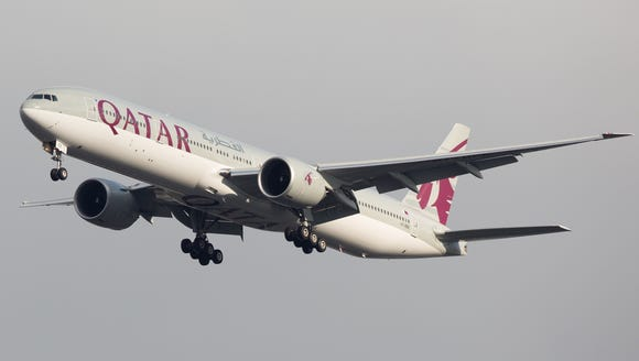 A Qatar Airways Boeing 777.