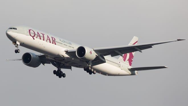 A Qatar Airways Boeing 777.