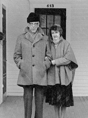 Jim Memmott's parents, Arthur and Sara, on the porch of their home in Little Valley.