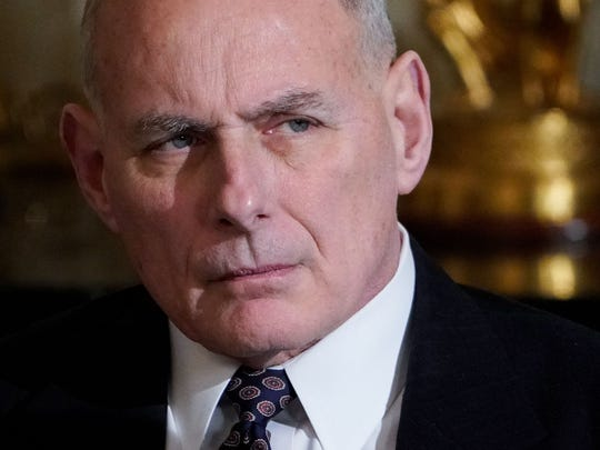 White House Chief of Staff John Kelly attends a meeting on infrastructure with state and local officials in the State Dining Room of the White House Monday.
