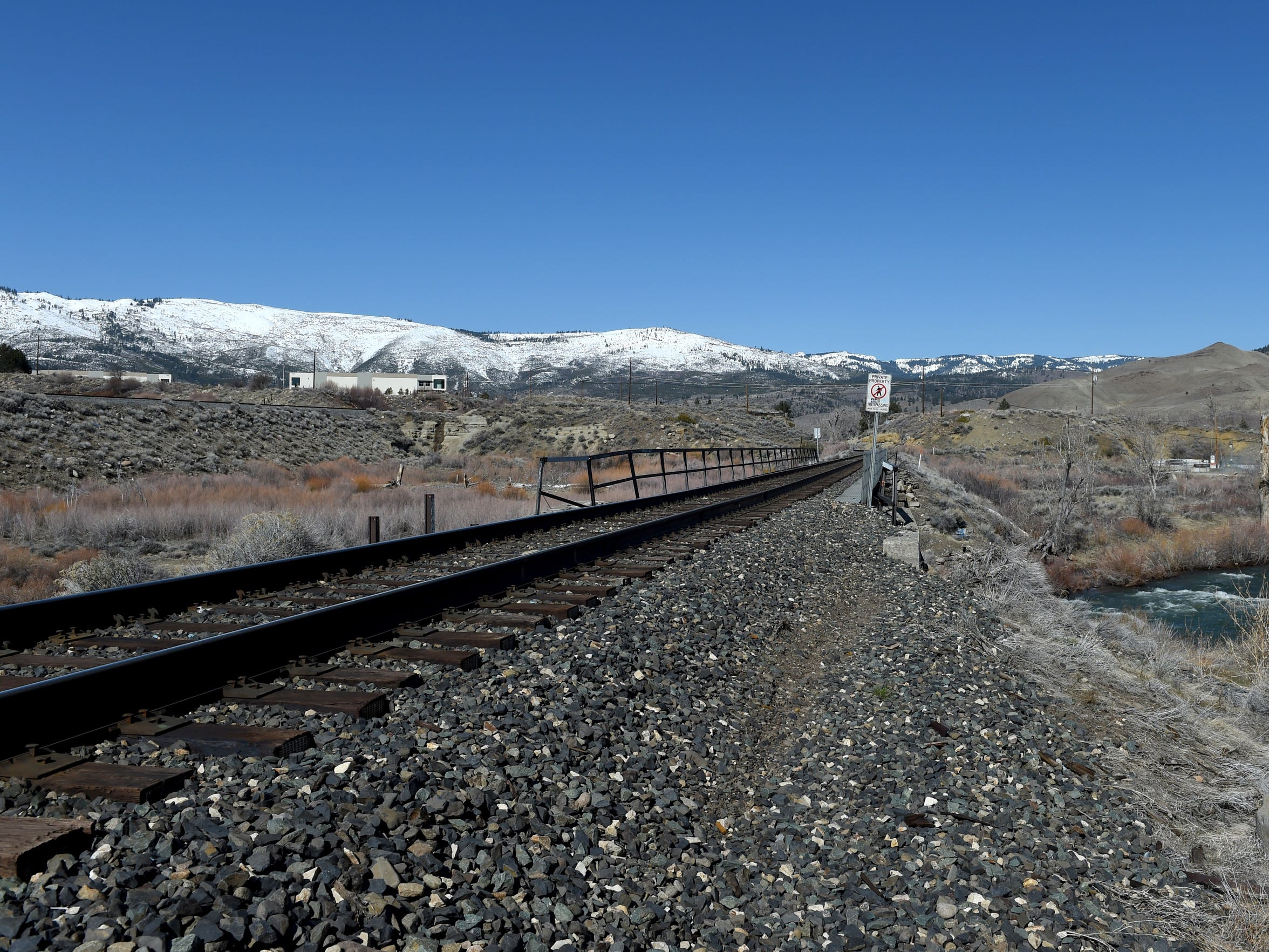 The railroad tracks closest to the I-80 in Verdi. Photographed