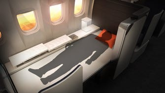 """The Crystal Cabin award for """"Passenger Comfort Hardware"""" category was awarded to Rockwell Collins for the """"Valkyrie Bed."""" Designed for Premium Business Class, this seat has a roll-up mattress in the console that can be drawn across the seat to make a bed."""