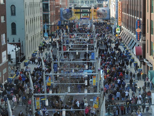 Masses of people descended on Super Bowl Village along Georgia Street in 2012.