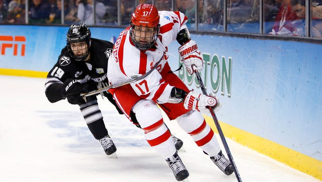 Evan Rodrigues helped Boston University reach the NCAA championship game in April, although the Terriers lost to Providence College. He signed as a free agent with the Buffalo Sabres later in the month.