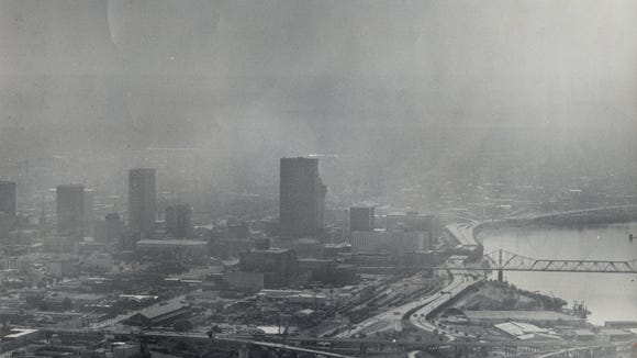A high level of ozone blanketed Louisville with a bluish smog in 1984.