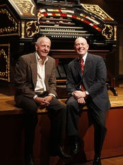 Jack Rouse, head of the Music Hall revitalization committee, and Duncan Hazard, project architect, sit together inside of the Music Hall ballroom and the Mighty Wurlitzer Theater Organ in 2011