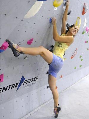 Emma Palmer smiles as she trains at Mesa Rim.