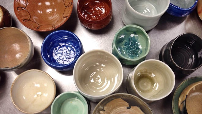 Eric Botbyl and students from the Union University Potters' Guild volunteered to make bowls for RIFA's inaugural Empty Bowls donor appreciation dinner Thursday.