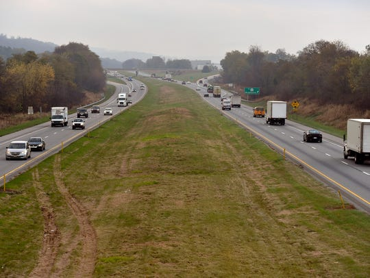 The grass median of U.S. 30 and the Cool Springs Road