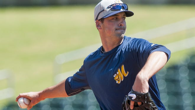 Pitcher Taylor Guerrieri throws as the Montgomery Biscuits hold practice at Riverwalk Stadium in Montgomery, Ala. on Tuesday April 5, 2016.