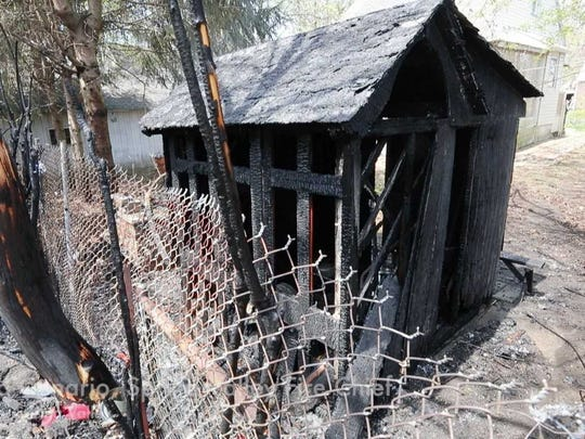 A house fire on Division Ave. in Spring Valley was caused after a fire in this shed spread to the house May 3, 2018.   The fire was made worse due to the explosion of propane tank. No injuries were reported.