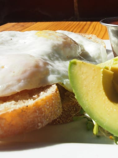 The California is a popular choice throughout the day, with two farm-fresh eggs atop sourdough toast, plus fresh sprouts, avocado and mild salsa on the side.