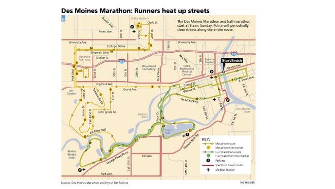 2015 Des Moines marathon map