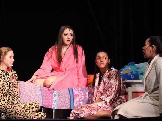 """(From left) Meg Burke as Eva, Victoria Cox as Campbell, Selena Gonzalez as Skylar, and Taylor Iacovelli as Kylar rehearse a scene in Campbell's bedroom for the Buena Regional High School Drama Club's production of """"Bring It On the Musical."""""""