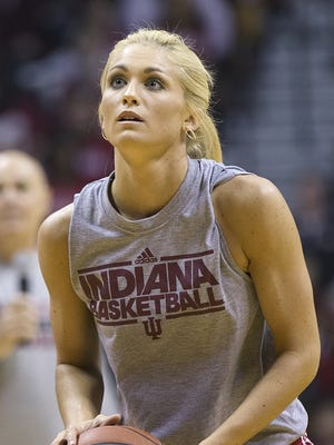 Indiana Hoosiers guard  Tyra Buss (3) competes in the three-point competition during Hoosier Hysteria at Assembly Hall, Bloomington, Ind., Saturday, October 22, 2016. Buss was the overall men's and women's three-point champion.