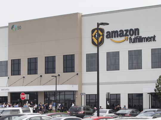 Amazon Fulfillment Center in Robbinsvillve. Amazon plans to hire 50,000 workers nationwide to help keep up with their expanding business and held Job Fairs at several Fulfillment center including Robbinsville. They plan to hire 1,500 for jobs in New Jersey.