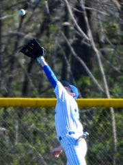 Northern Lebanon left fielder Kody Ream makes a leaping catch as Lebanon held off Northern Lebanon to win 3-2 at Coleman Memorial Park on Tuesday, April 5, 2016