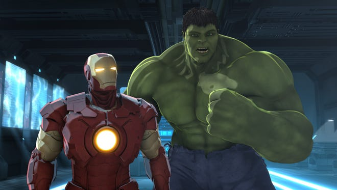 """Iron Man (voiced by Adrian Pasdar) and the Hulk (Fred Tatasciore) pair up to defeat the energy creature Zzzax in """"Iron Man and Hulk: Heroes United."""""""