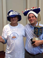 Two of the LatkeFest chefs from 2014, Ronn Schuman,