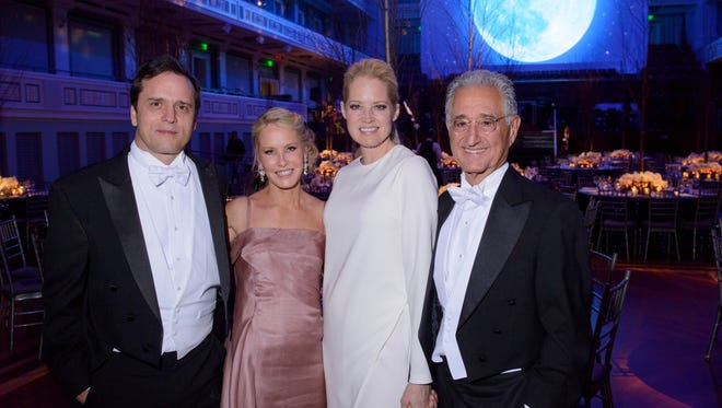 2017 Symphony Ball co-chairs Ashley Rosen, second from left, and Carolyn Bryant with their husbands John Rosen, left, and Del Bryant, right at the 33rd annual Symphony Ball on Dec. 9, 2017 at the Schermerhorn Symphony Center.