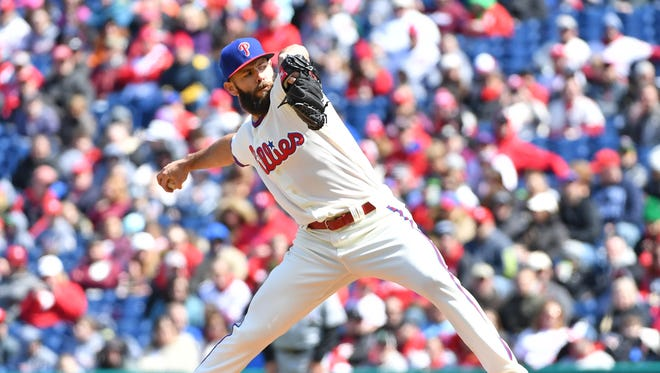 Apr 8, 2018; Philadelphia, PA, USA; Philadelphia Phillies starting pitcher Jake Arrieta (49) throws a pitch during the first inning against the Miami Marlins at Citizens Bank Park. Mandatory Credit: Eric Hartline-USA TODAY Sports