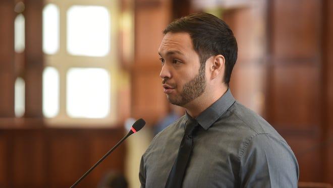 Sen. Michael F.Q. San Nicolas discusses Bill No. 243-34 (COR) during a legislative session at the Guam Congress Building in Hagåtña on April 30, 2018.