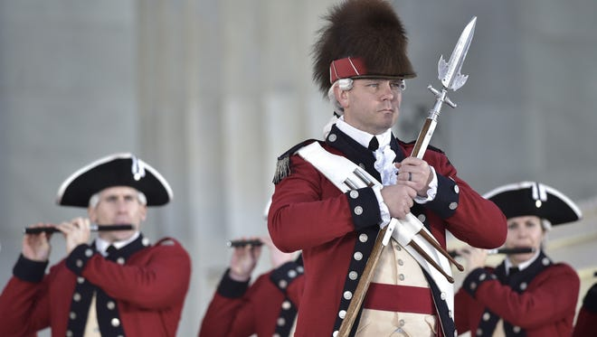 A military band performs in Washington on Jan. 19, 2017.
