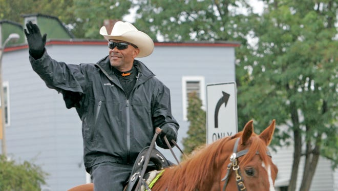 Former Milwaukee County Sheriff David Clarke Jr. on his horse for the Mexican Independence Day Parade in 2010.