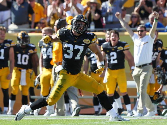 Brandon Snyder celebrates an interception in the Outback Bowl following the 2016 regular season. Since, he's played in only one college game in 20 months.