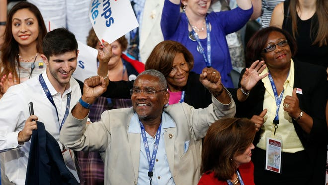 Convention goers dance on the floor during the 2016 Democratic National Convention.