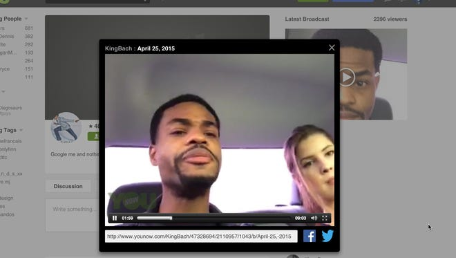 """Andrew Bachelor, a.k.a., """"King Bach,"""" talks to his online fans on the YouNow app."""