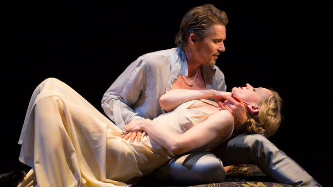 Ethan Hawke and Anne-Marie Duff star in a performance of 'Macbeth' in New York.