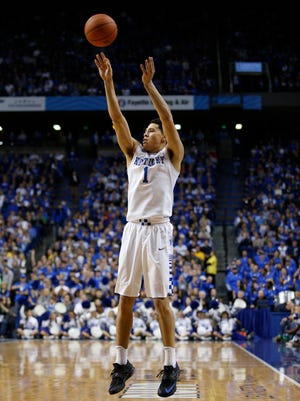 Kentucky guard Devin Booker shoots a three point basket in the first half. Booker finished with 19 on 5-6 three point shooting. 
