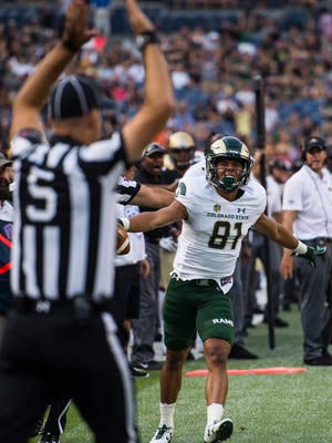 CSU receiver Olabisi Johnson disagrees with an offensive pass interference penalty called on him, Friday, September 1, 2017, during the Rocky Mountain Showdown at Sports Authority Field at Mile High in Denver. It was one of three questionable offensive pass-interference calls made against the Rams by a Pacific-12 Conference officiating crew.