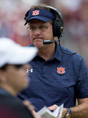 Auburn head coach Gus Malzahn looks towards his bench during the first quarter of an NCAA college football game against Texas A&M on Saturday, Nov. 4, 2017, in College Station, Texas. (AP Photo/Sam Craft)
