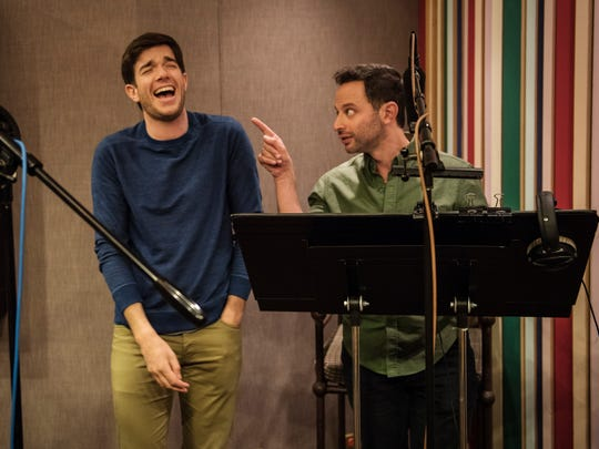 John Mulaney, left, and Nick Kroll share a laugh in