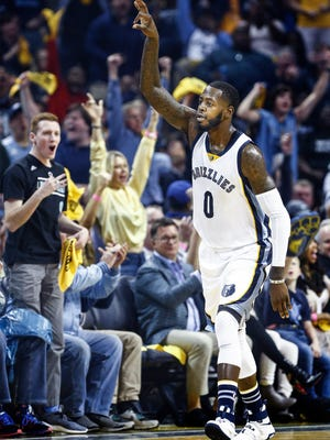Grizzlies forward JaMychal Green celebrates a 3-pointer against the San Antonio Spurs during the third quarter action of Game 4 on Saturday.