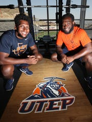 UTEP football linebacker transfers Julian Jackson, left, and Jamar Smith in the weight room of the Larry K. Durham Center overlooking the Sun Bowl Stadium.
