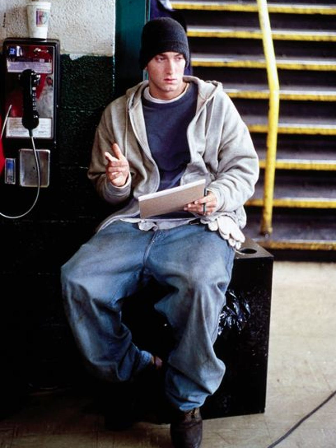 "Eminem during a break on the ""8 Mile"" movie set"