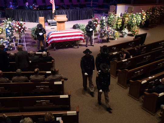 More than 300 people attended a funeral service for