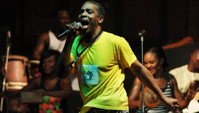 "Singer Femi Kuti performing at the New Afrika Shrine in Lagos, Nigeria. The son of Fela Kuti, whose career as a musician and political activist was celebrated by the three-time Tony Award winning play ""Fela!,"" has in recent days been thinking more than ever about his father with the release of the latest work on his life, ""Finding Fela."""
