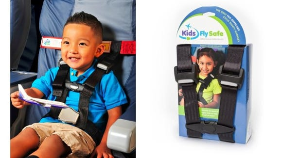 Strap your kids into any plane seat with this harness.