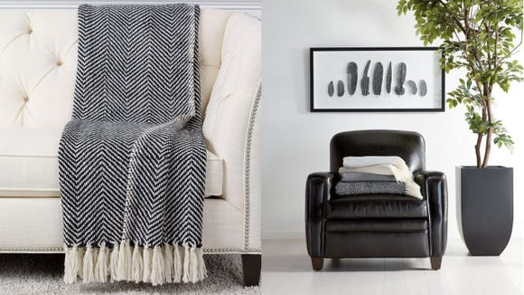 Ethan Allen Fringe Herringbone Throw