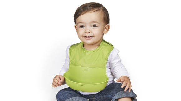 Oxo Tot's roll-up bibs are far and away the best bibs I've found.
