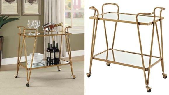 Gold Mid-Century Bar Cart