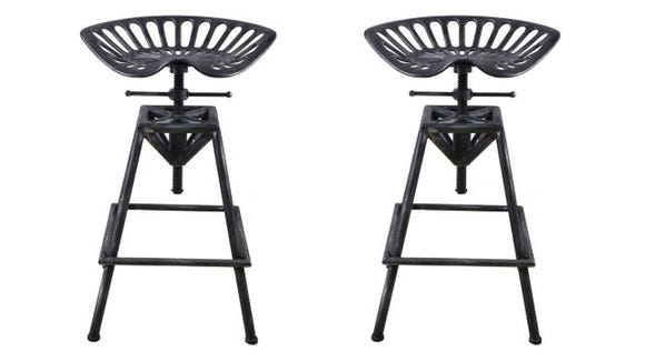 Cast-Iron and Steel Adjustable Tractor Stool